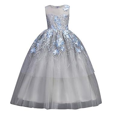 5675954f226 Hougood Filles Robe Fée Princesse Robe De Danse Robe De Soirée Fantaisie  Robe Sans Manches Dentelle Fleurs De Bal Robes De Danse Costumes 5-12 Ans   ...
