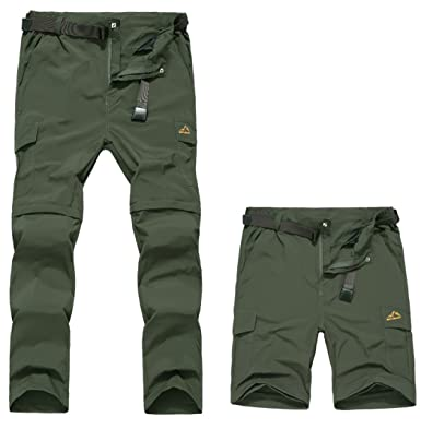 f6377881eb Vcansion Men's Outdoor Waterproof Work Pants Quick Dry Convertible Ripstop Cargo  Shorts Army Green US 30
