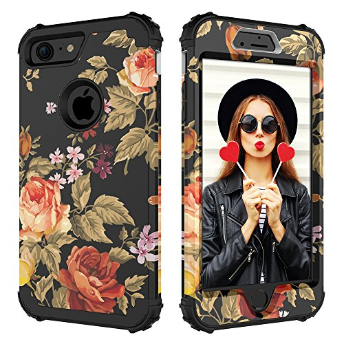Case for iPhone 8,Case for iPhone 7,Digital Hutty 3 in 1 Shockproof Heavy Duty Full-Body Protective Cover for Apple iPhone 7/iPhone 8 Flower