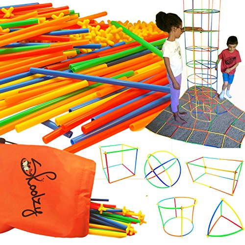 Skoolzy Straw Structures Interlocking Building Connecting Engineering Construction Kit - 200 Pc Straws and Connectors STEM Set Preschool Fine Motor Skill Toys for Girls & Boys - Free Activity Download (Kindergarten Math Kit)