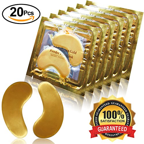Dancay 20 pairs of Crystal Collagen Under Eye Treatment Mask Pads/Patches, Infused with 24K Gold Powder For Anti-Aging & Moisturizing; Reduces Dark Circles, Puffiness, Wrinkles. For Women And Men