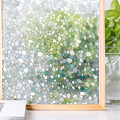 Homein Window Films 3D Static Privacy Decoration Home Window Tint Film For UV Blocking Heat Control Glass Stickers,Pebble,17.7In. By 78.7In. (45 x 200Cm) (Own Your Furniture Mirrored Make)