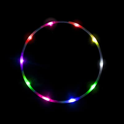 LED Hula Hoop Fully Rechargeable and Collapsable - 14 Color Strobing and Changing LED Lights - Multiple Light Up Hoola Hoops for Adults and Kids - Technicolor Prism: Sports & Outdoors
