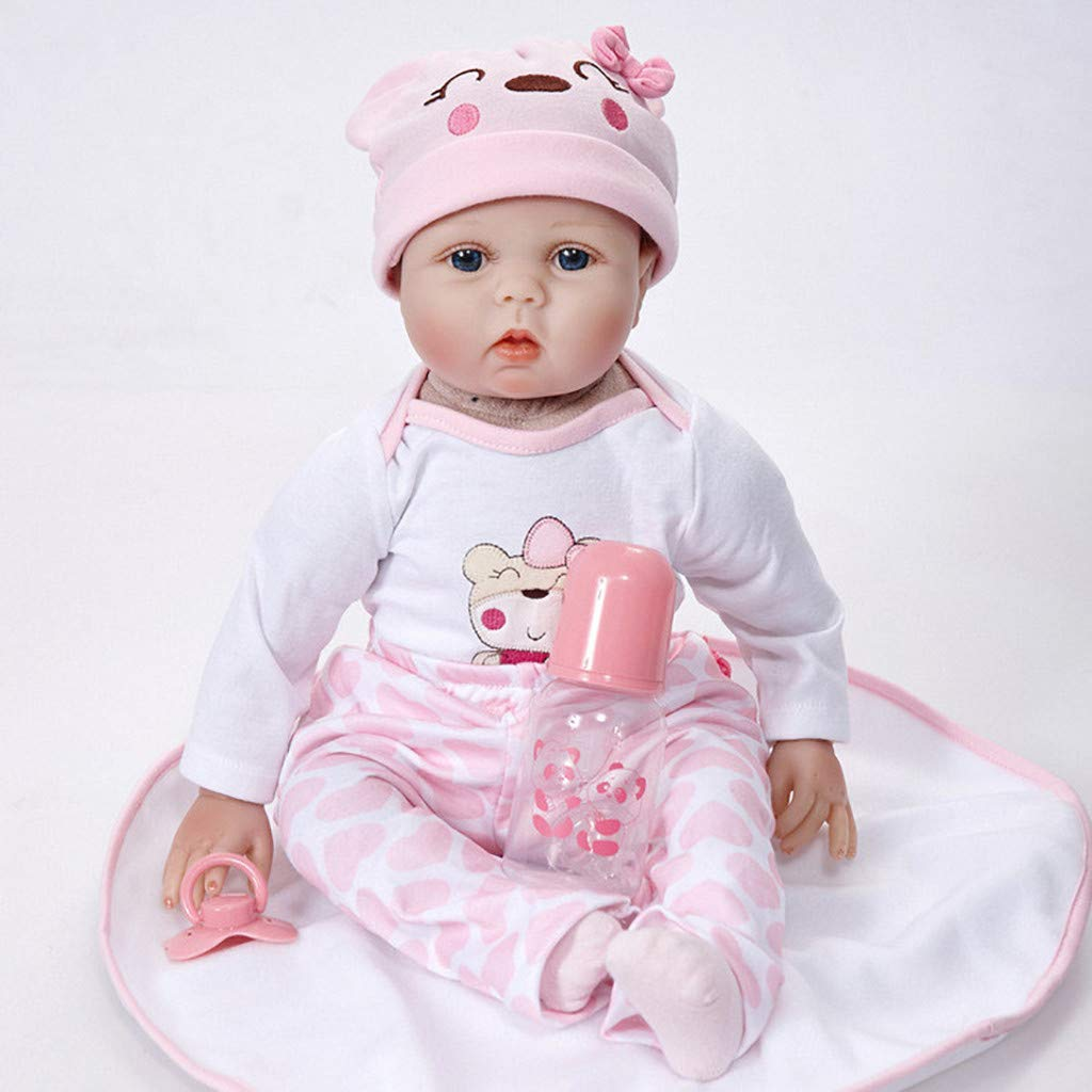 WONdere Reborn Toddler Baby Doll Artificial Girl 22/23 Inch Vinyl Silicone Lifelike Toy (A)