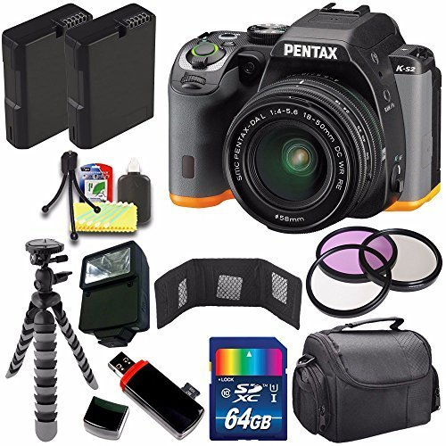 Pentax K-S2 DSLR Camera with 18-50mm Lens (Black/Orange) + Replacement Battery + 64GB Card + Flash + 58mm 3 Piece Filter Kit + Deluxe Accessory Kit Bundle