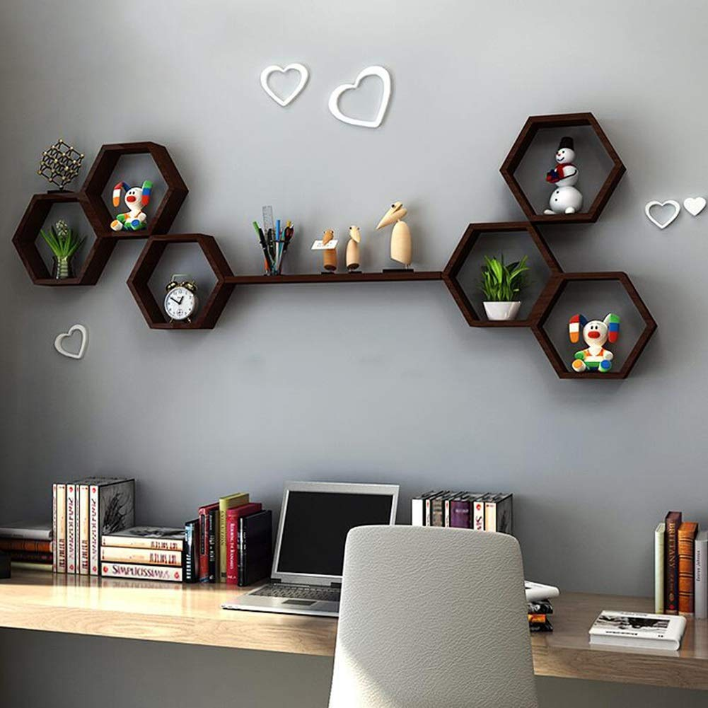 Bookcases Decorative Wall Hanging Shelf, TV Background Living Room Wall Solid Wood Wall Mount, Wall Creative Lattice Decorative Frame Partition Yixin (Color : A, Size : 15080cm)