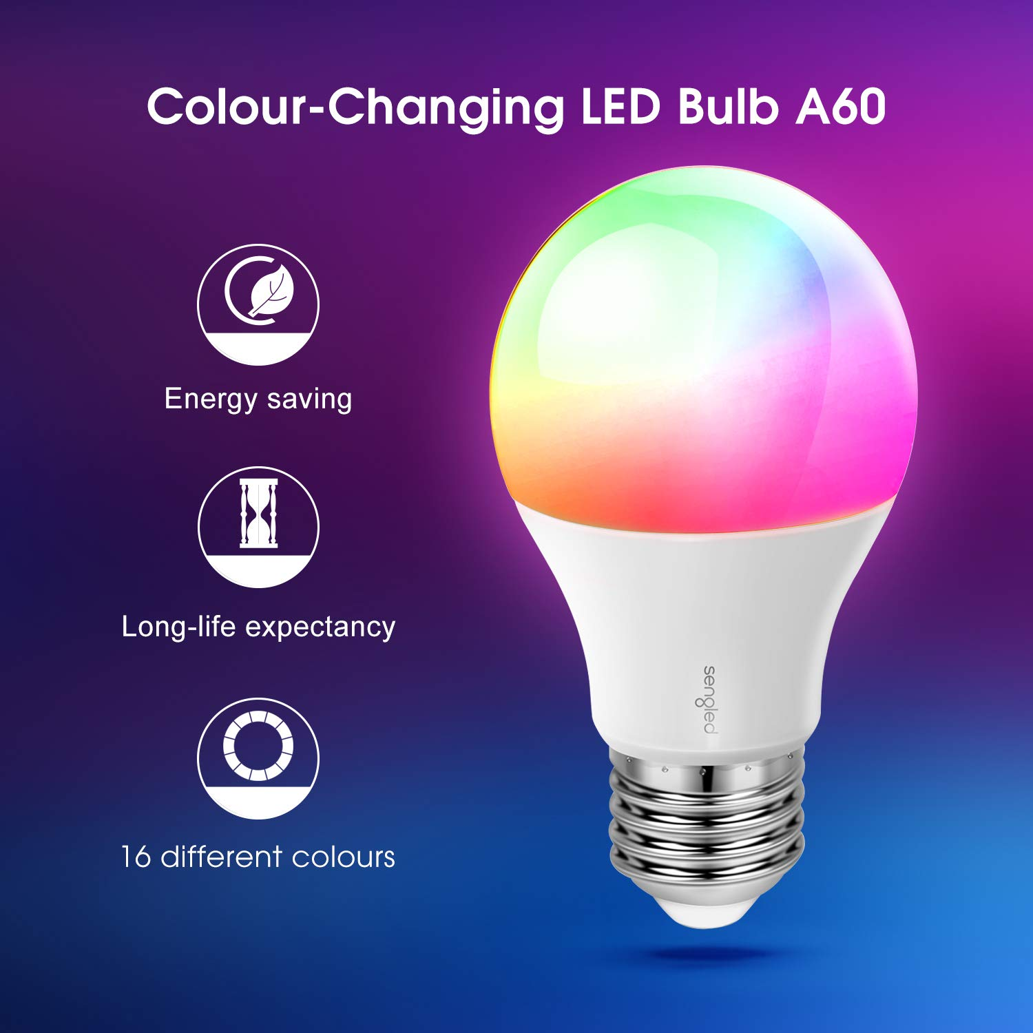 Dimmable LED Light Bulb Through Remote Control with B22 Bayonet Base,16 Mio.Colours for Christmas Party Games,2 Pack. Energy Class A + Sengled Paint Colour Changing