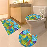 3 Piece Bathroom Rug Set For Kids Scary Monster in Ufo on Planet Solar System Funky Back Fabric Set with Hook Extra Soft Memory Foam Combo - Rug, Contour Mat and Lid Cover