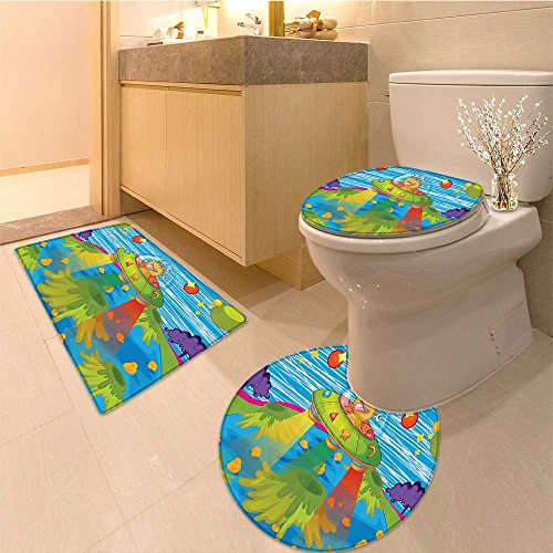 3 Piece Bathroom Rug Set For Kids Scary Monster in Ufo on Planet Solar System Funky Back Fabric Set with Hook Extra Soft Memory Foam Combo - Rug, Contour Mat and Lid Cover by NALAHOMEQQ