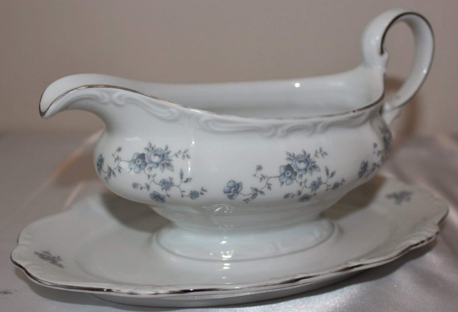 Johann Haviland Bavaria Germany Blue Garland Gravy Boat w/Attached Underplate - Haviland Classic - White Bone Porcelain with Floral Blue Garland and Trimmed in Platinum