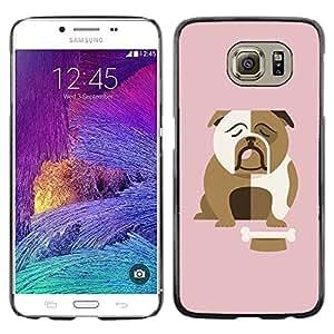 iKiki Tech / Estuche rígido - Bulldog British English Cartoon Pink - Samsung Galaxy S6 SM-G920