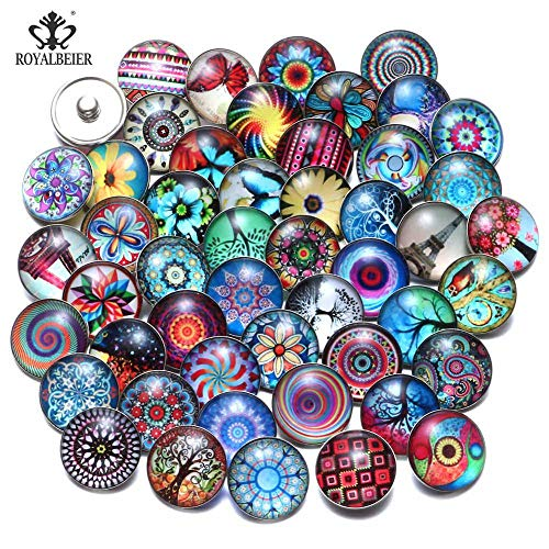 Mixed Glass Snap Buttons | Over 50 Designs Ginger Print Glass Cabochon Buttons | Fit 18Mm Charm Bangle (50Pcs/Lot) (KZHM095)