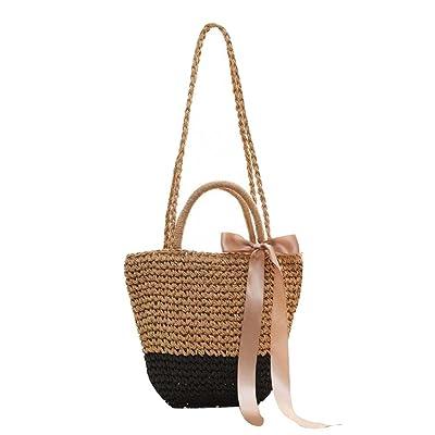 Belle sac à bandoulière en paille Sac fourre-tout en fourrure pour femme, A1