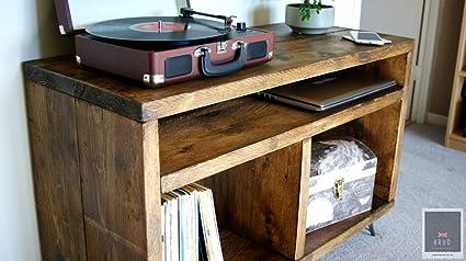 support pour lecteur de disque stockage de disques en vinyle support de plateau tournant meuble echafaudage meuble tv rustique meuble tv