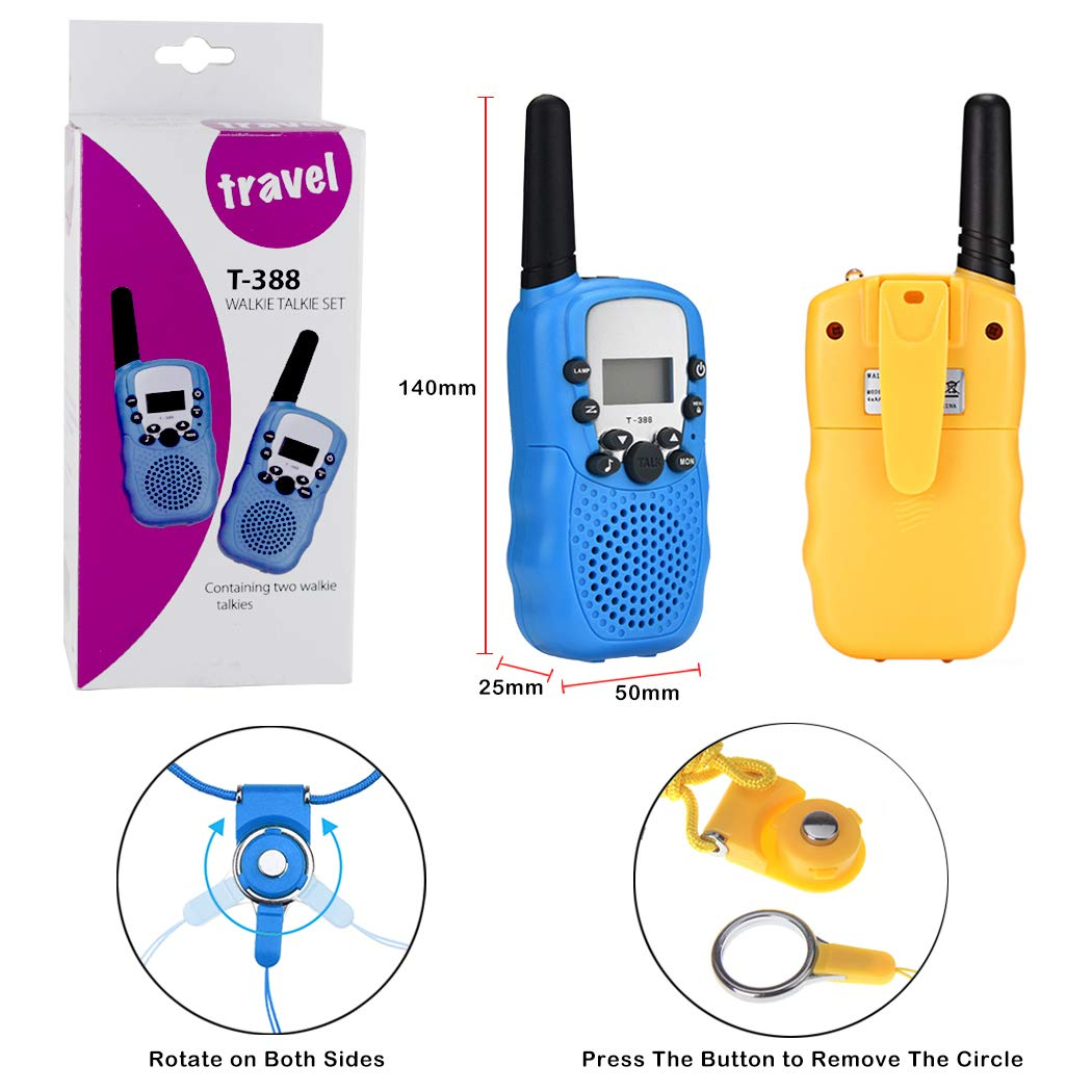 GGIENRUI Walkie Talkies for Kids 22 Channels 3 Miles Range Two Way Radios with Batteries and Lanyards 2Pack Toy Walkie Talkie for 3-12 Year Old Boys and Girls