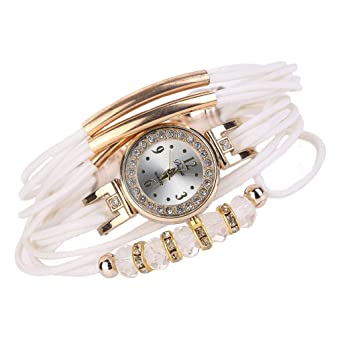 Pulsera del Reloj, K-youth® Reloj de pulsera Cuarzo Brazalete Cuero Trenzado Retro
