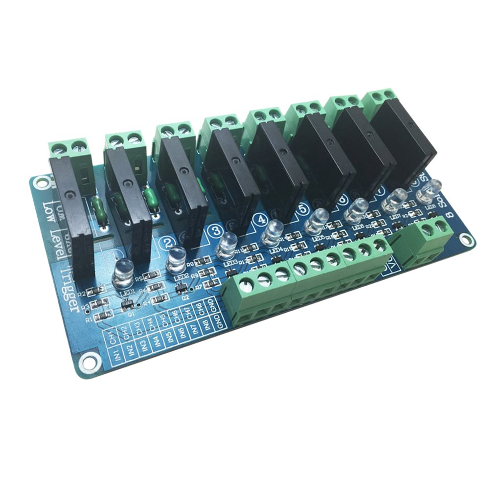 Jili Online 4/8 Way Low/High level Board Solid State Relay Module with Resistive Fuse 5V/12V/24V - High Level, 8 Channel 24V