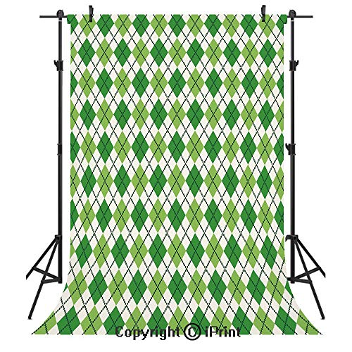 Irish Photography Backdrops,Classical Argyle Diamond Line Pattern with Crosswise Lines Old Fashioned Decorative,Birthday Party Seamless Photo Studio Booth Background Banner 3x5ft,Green Light Green Whi