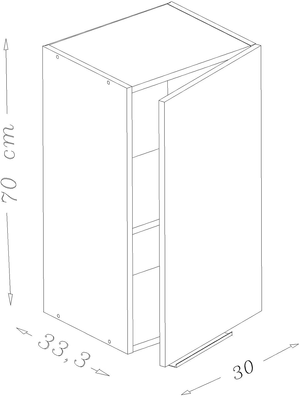 Berlioz Creations CP1111HA Meuble Haut de Cuisine avec 11 Porte Aubergine Haute  Brillance 11110 x 11114 x 11 cm