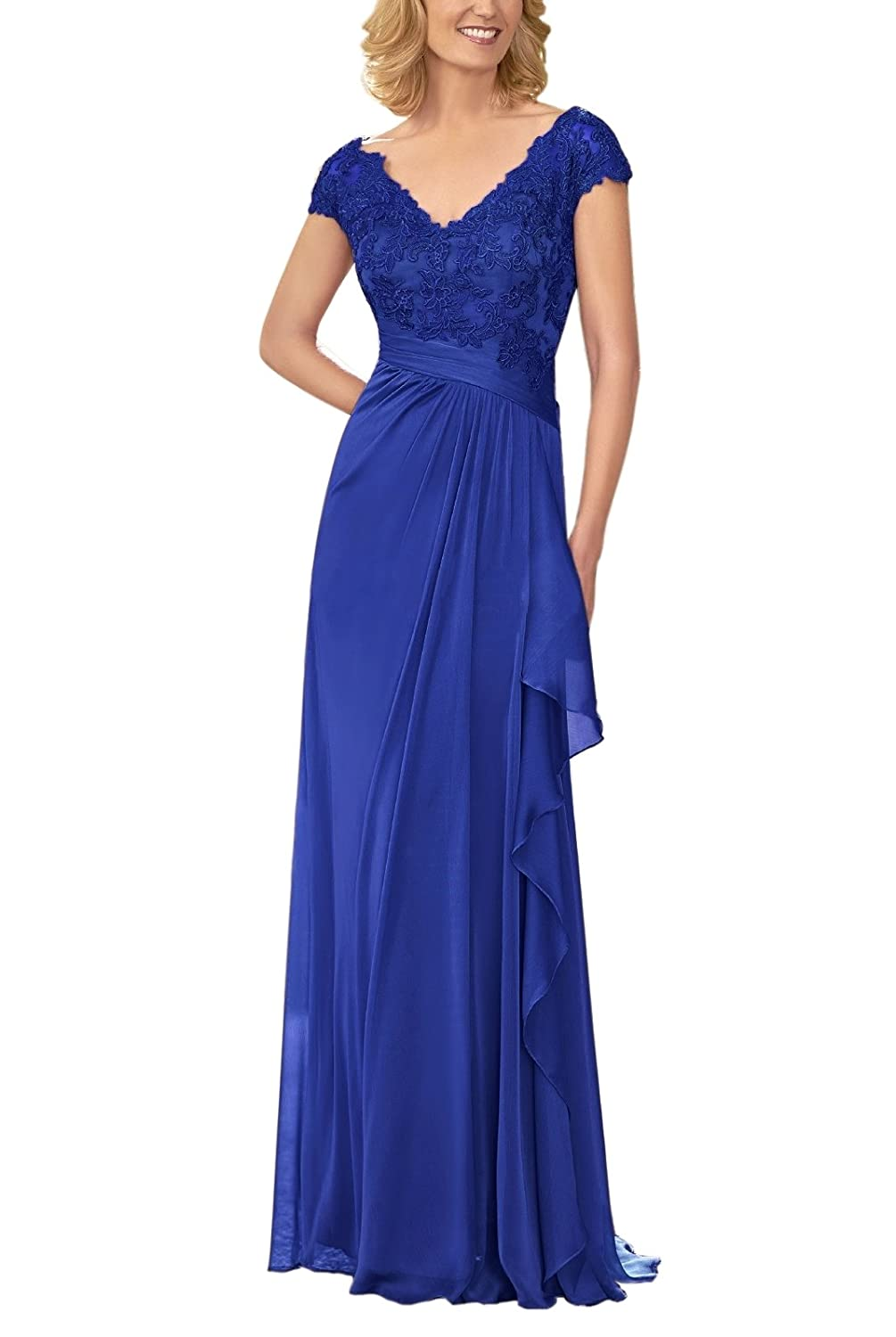 LOVEONLY Womens Caps V-Neck Chiffon Pleated Lace Appliques Mother of The Bride Dress Floor Length Formal Gowns