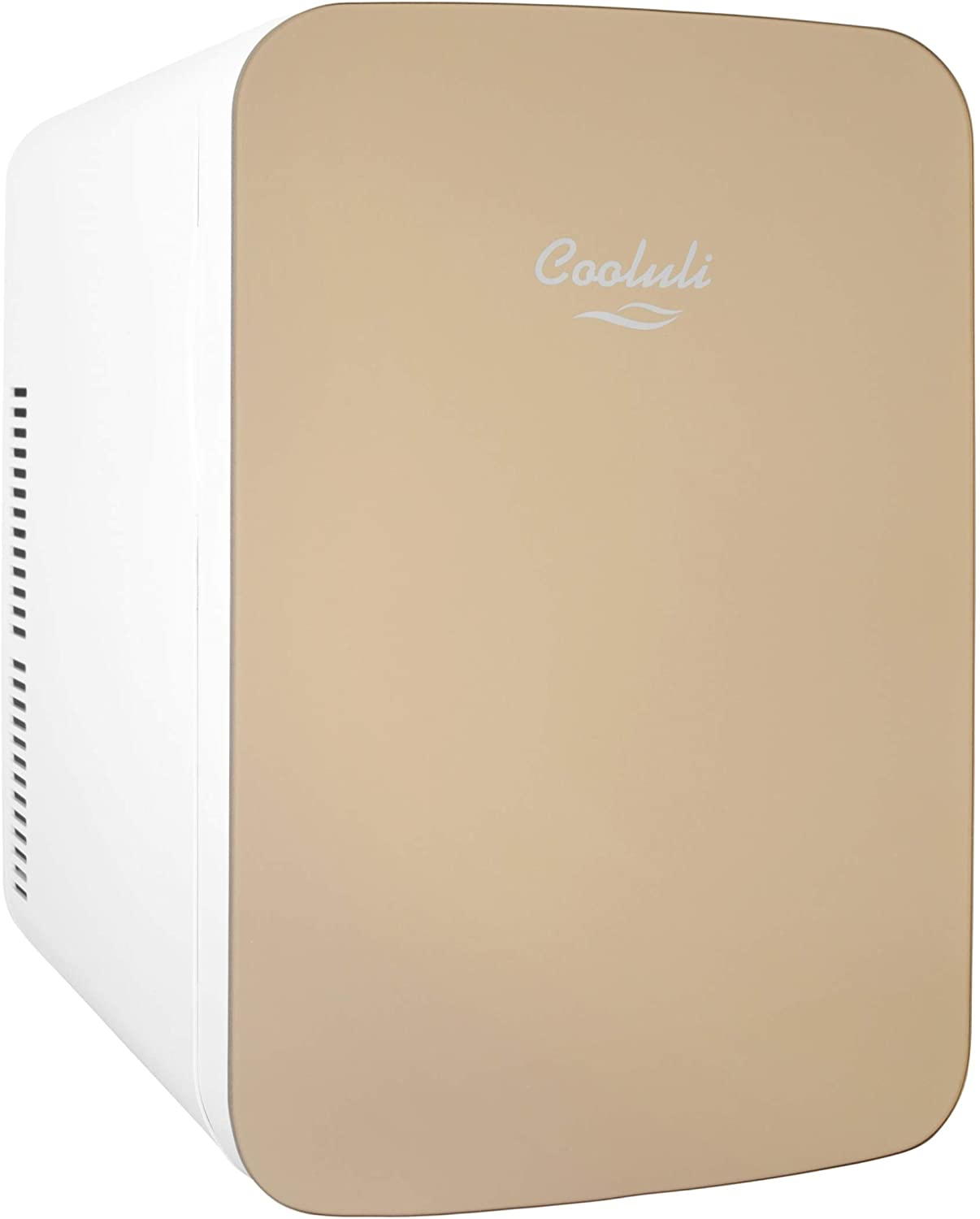 Cooluli Infinity Gold 15 Liter Compact Portable Cooler Warmer Mini Fridge for Bedroom, Office, Dorm, Car - Great for Skincare & Cosmetics (110-240V/12V)