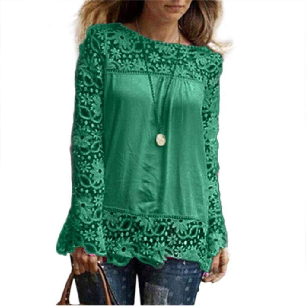Women Plus Size Hollow Out Lace Splice Long Sleeve Shirt Casual Blouse Loose Top(Green,Medium)