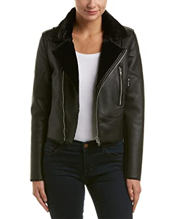 3ff07437c68 VIGOSS Women s Moto Crop Vegan Leather Bonded Lined with Shearling Jacket
