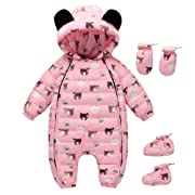 Happy childhood 0-24M Baby Warm Rompers Winter Infant Bodysuits Onesie Snowsuit Outfit Hooded Down Jumpsuit Pink 90