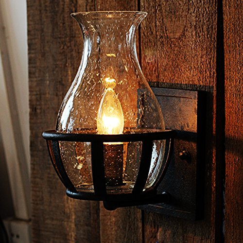 Ladiqi Vintage Country Style 1-Light Candle Design Wall Sconce with Unique Seedy Glass (Candle Wall Light)