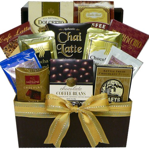 Coffee, Cappuccino & Latte Lovers Gourmet Snacks Gift (Chocolate Basket Set)
