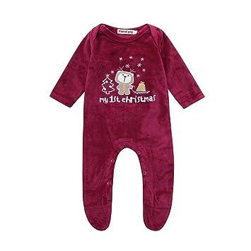 coohole Navidad recién nacido bebé niñas niños carta oso mono Pelele traje pelele, Rojo: Amazon.es: Deportes y aire libre
