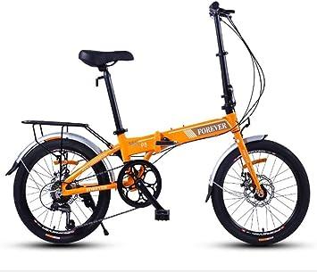AYHa Bicicleta plegable, adultos mujeres ligeras de peso plegable bicicletas, 20 pulgadas 7 Velocidad mini motos, marco reforzado del viajero de la bici, marco de aluminio,naranja: Amazon.es: Bricolaje y herramientas