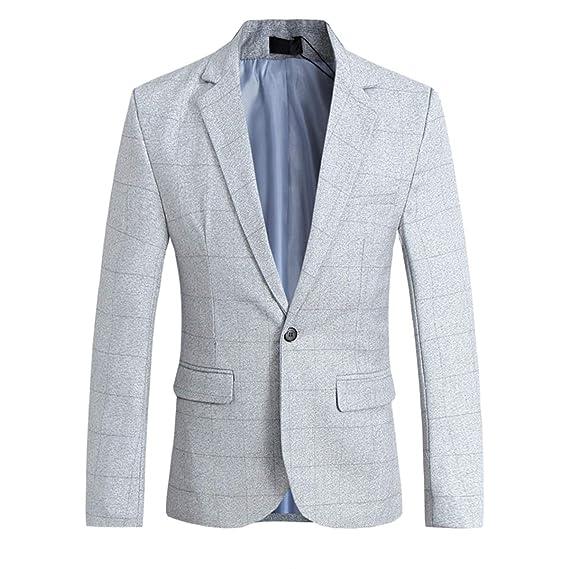 Allthemen Chaqueta Casual para Hombre Slim Fit Tweed Chaqueta a ...