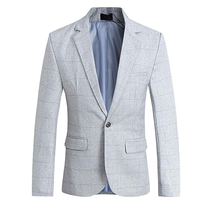Allthemen Chaqueta Casual para Hombre Slim Fit Tweed ...