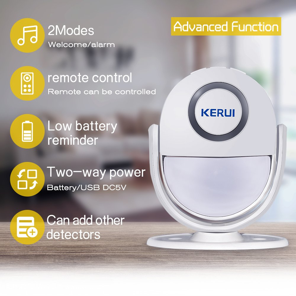 Home Security Alarm,Wireless Infrared Motion Sensor With Remote Control key. All-in One Burglar Alarm System,Visitor Guest Entry Doorbell Chime with Remote LED Indicators Easy to Install Great for Bu by KERUI (Image #2)