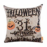LINKWELL 18x18 inches Happy Halloween October 31 Midnight Witch Pumpkin Burlap Cushion Cover CC1182