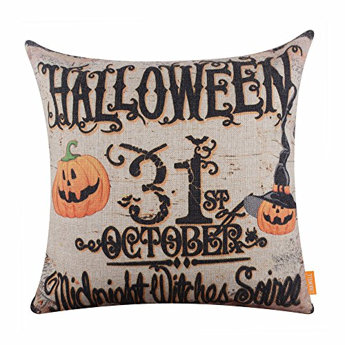 LINKWELL 18x18 inches Happy Halloween October 31 Midnight Witch Pumpkin Burlap Cushion Cover (31 October Halloween)