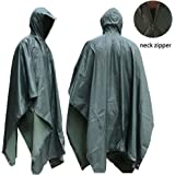 JTENG Rain Poncho Waterproof RipStop Hooded PVC Camouflage Rain coat for Hunting Camping Military and use with Emergency Grommet Corners shelter use