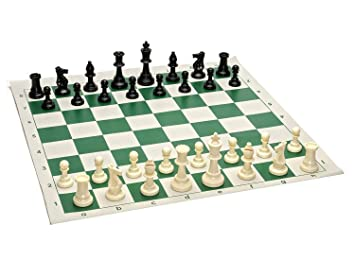 Kids Mandi 17 x 17 Tournament Chess Set with Plastic Filled Chessmen and Black and White Roll-Up Vinyl Mat