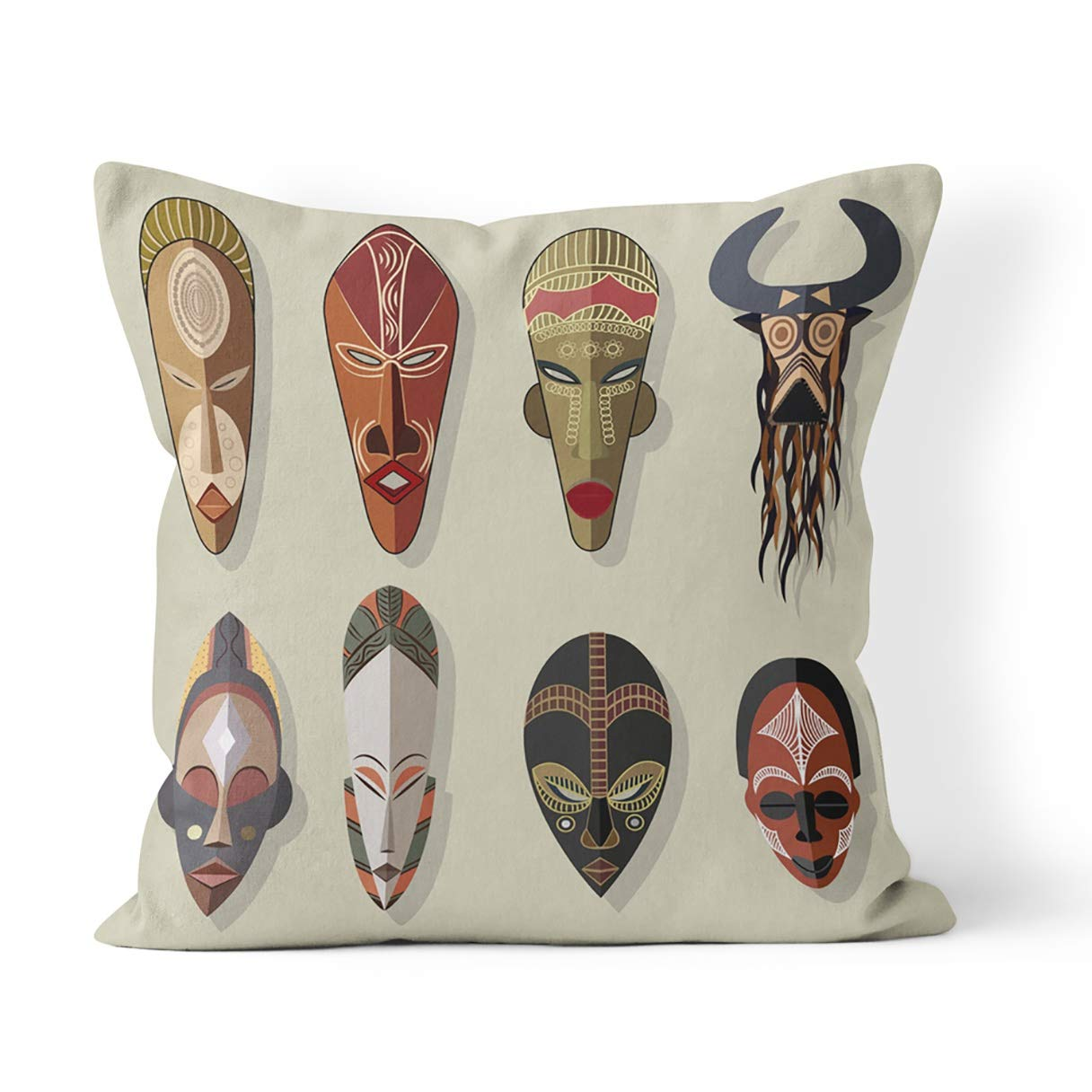 Amazon.com: Suike Throw Pillow Cover Tribal African Masks ...