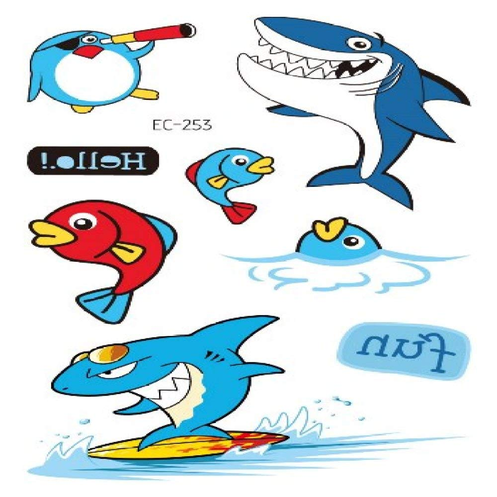 adgkitb 5piezas Tatuaje de tiburón Pirata para niños Dibujos ...