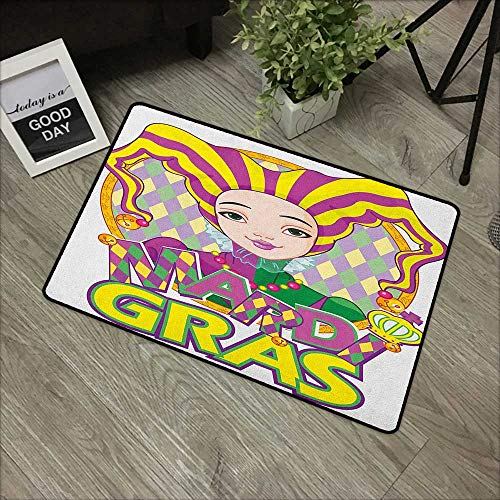 Interior mat W31 x L47 INCH Mardi Gras,Carnival Girl in Harlequin Costume and Hat Cartoon Fat Tuesday Theme, Yellow Purple Green Non-Slip Door Mat Carpet -