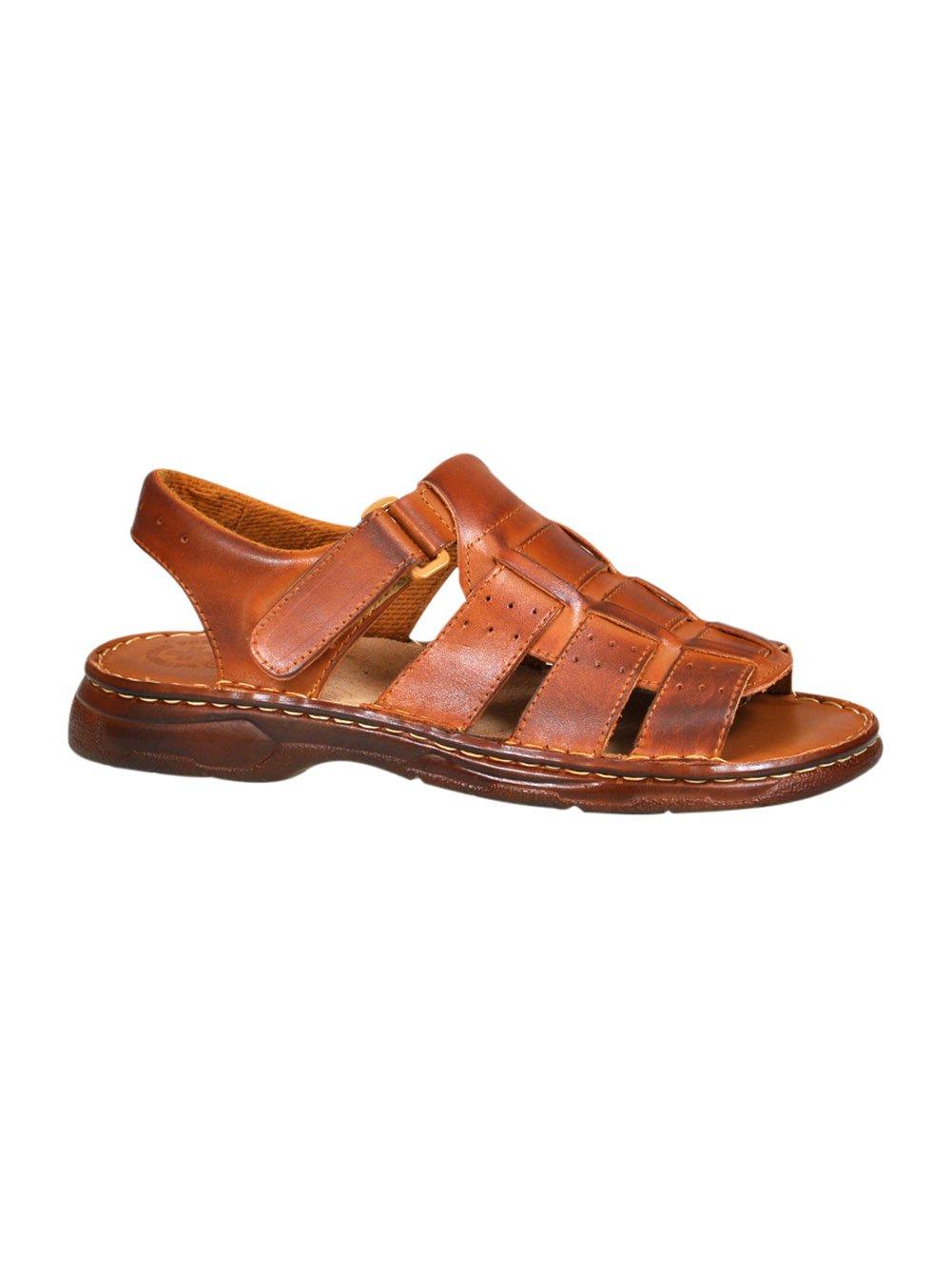 Lukpol Herren Bequeme Sandalen Schuhe mit der Orthopadischen Einlage Aus Echtem Buffelleder Hausschuhe Modell 817  42 EU|Braun