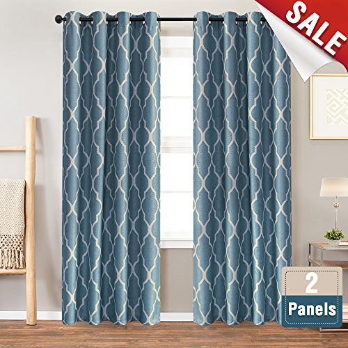 Blue Curtains 84 inch Long for Bedroom Grommet Home Linen Textured Living Room Darkening Window Curtain 2 Panels Grommet Top Drapery Set Dark on Flax