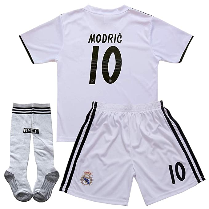 quality design 41c91 7f65c Amazon.com: Luka Modric #10 2018-2019 Real Madrid Home Kids ...