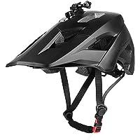 MOKFIRE Mountain Bike Helmet with USB Safety Light & Camera Mount Detachable Super Long Sun Visor for MTB Adult Cycling…