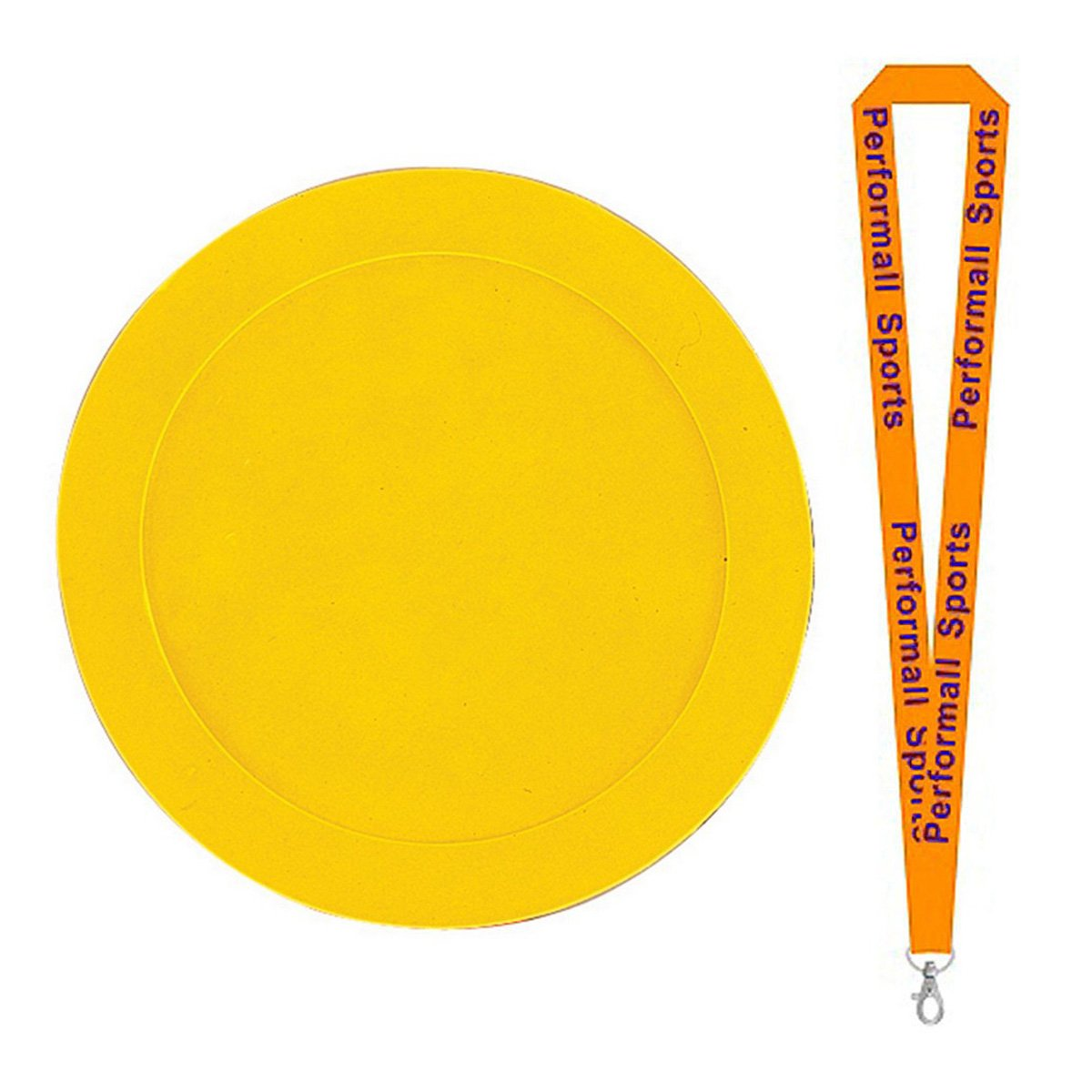Champion Sports 9'' Poly Spot Marker Yellow (Set of 12) Bundle with 1 Performall Lanyard MSPYL-1P