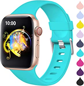 Haveda Sport Compatible for Apple Watch 44mm Series 4 Series 5 Band, Premium iwatch 42mm bands women for Apple Watch Series 3, Series 2 1 Men, Teal 42mm/44mm S/M