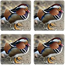 MSD Square Coasters Non-Slip Natural Rubber Desk Coasters design 23861980 Details of a side view of a mandarin duck in nature