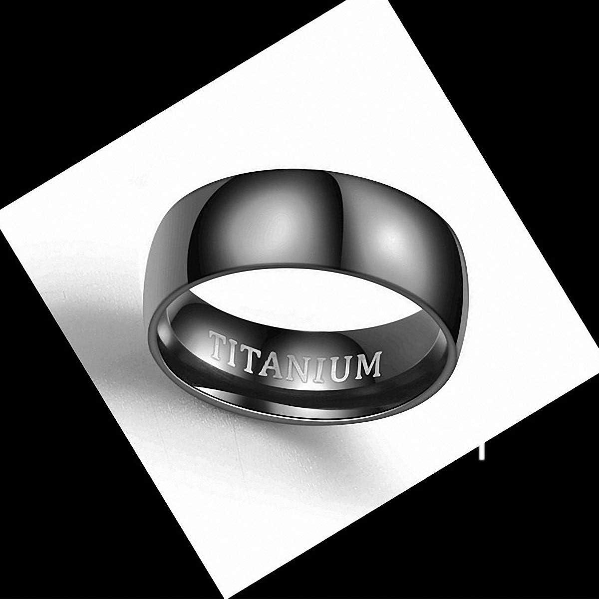 MAGIIE 1 PCS Mens 8mm Tungsten Carbide Ring,TITANIUM Black Ring for Men